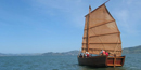 The Grace Quan, a Chinese shrimp junk, sailing on San Francisco Bay.