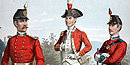 Three soldiers wearing uniforms of the Second Corps of Cadets from the 18th and 19th centuries.