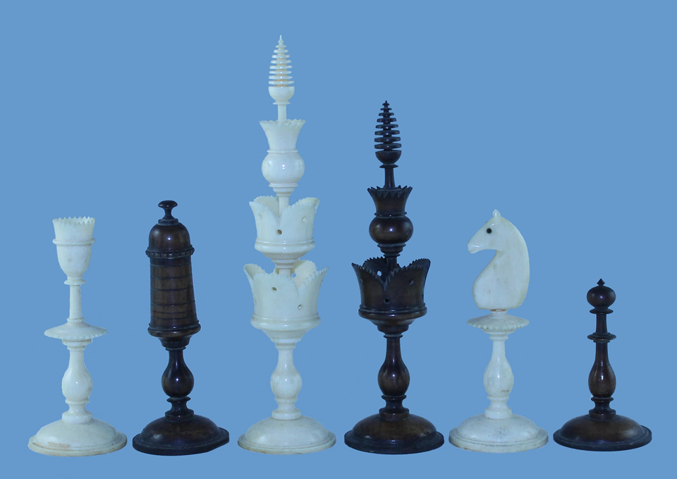 A Selenus style chess set probably dating to the early 19th century.