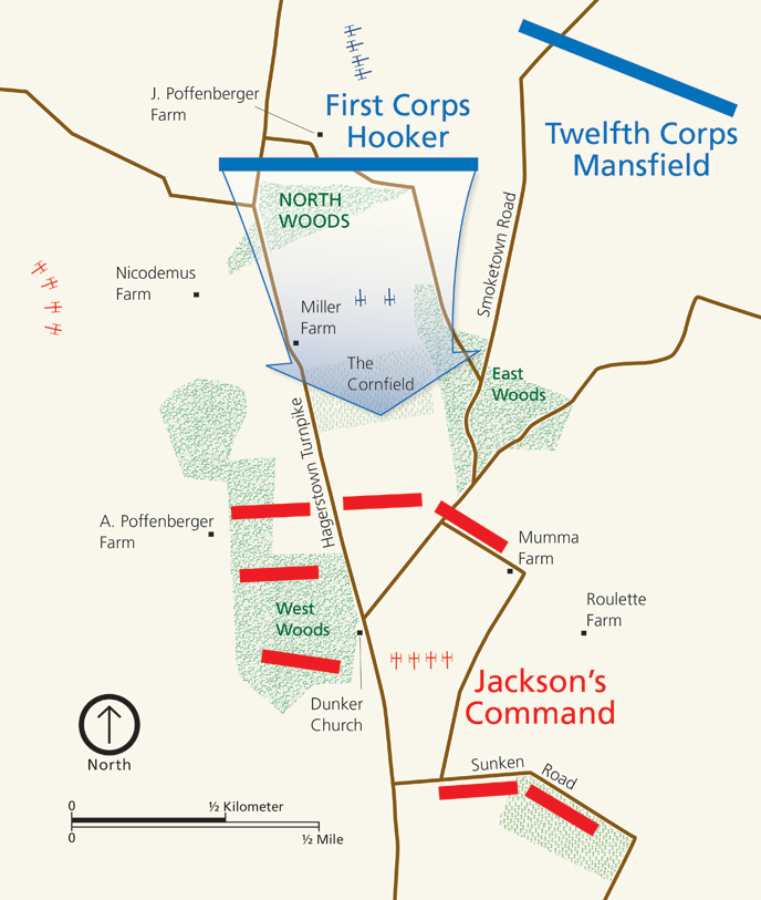 Map of the North Woods at Antietam
