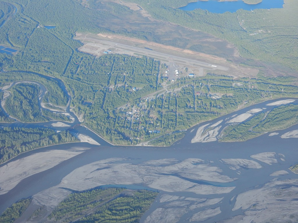 Aerial view of the town of Talkeetna