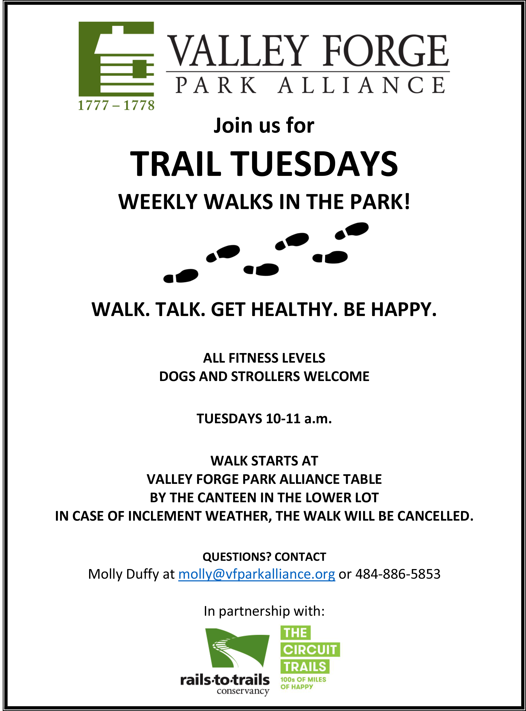 Flyer for Valley Forge Park Alliance Tuesday walks.