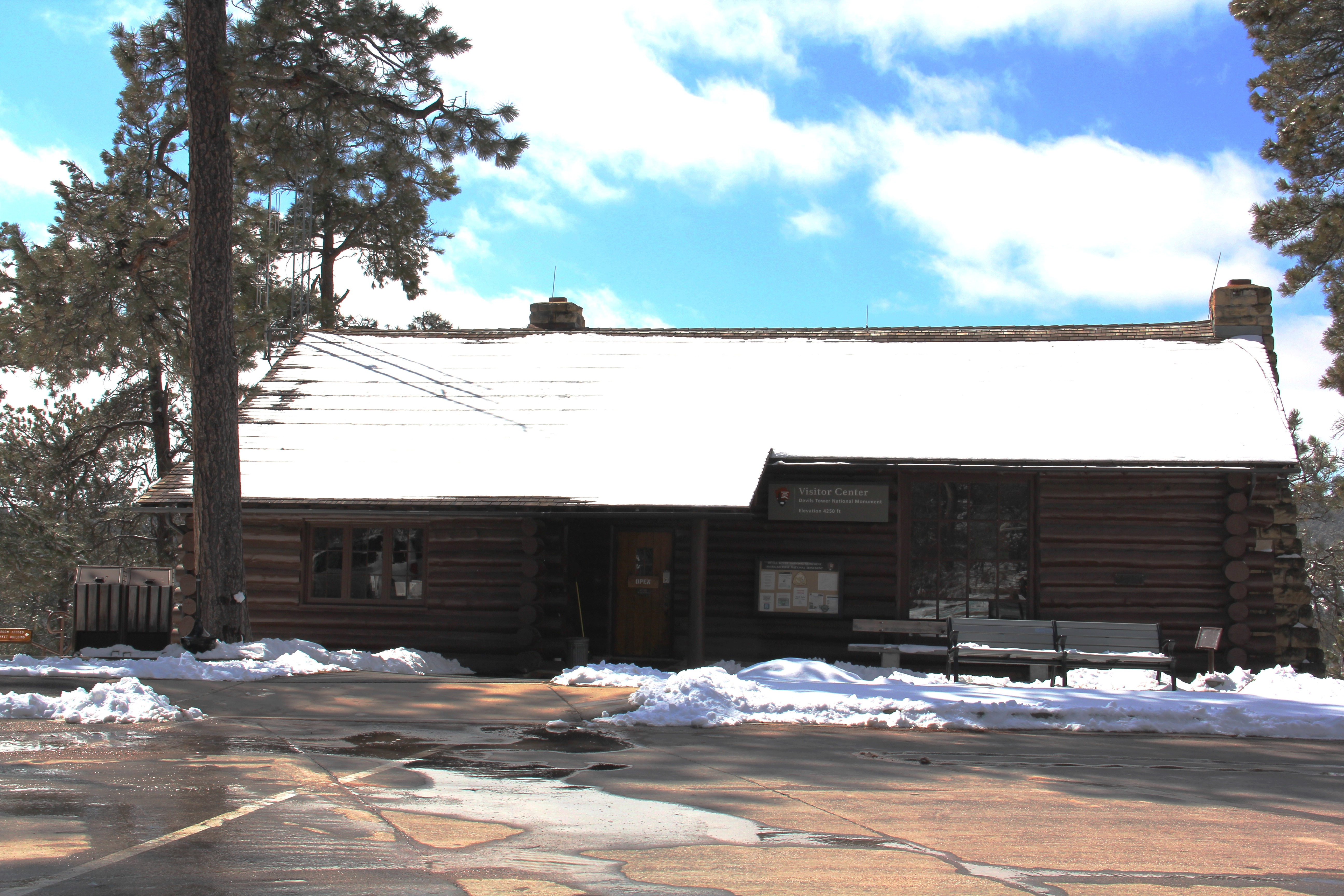 Visitor Center covered in snow