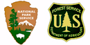 NPS Arrowhead and USFS Badge
