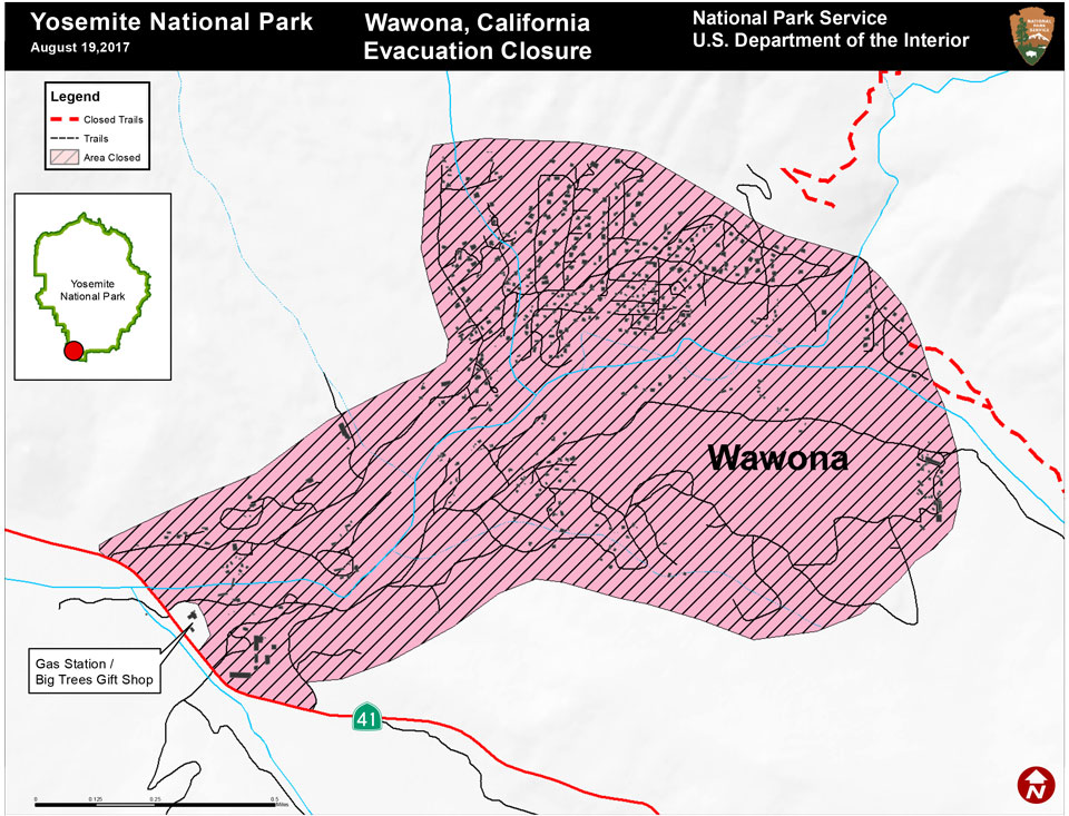 A map illustrating closures in the community of Wawona due to a wildland fire.