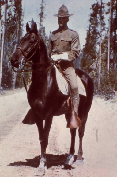 This mounted soldier is often misidentified as a cavalryman. However, upon close examination, the color of this corporal's hat cord is light blue (infantry) and not yellow (cavalry), circa 1910.