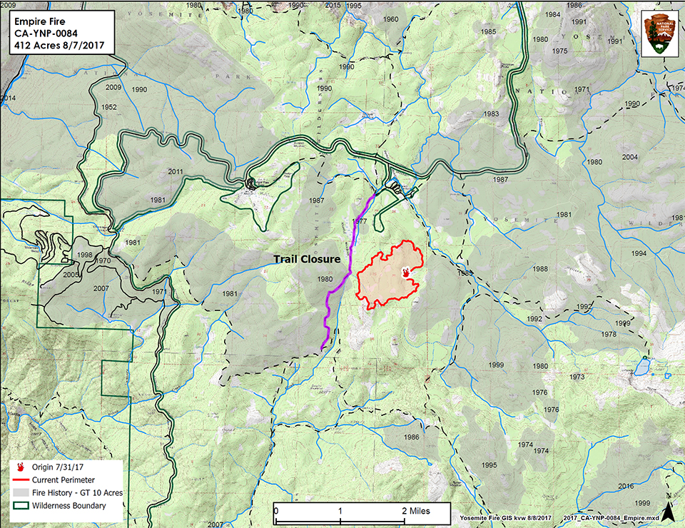 Map showing Empire Fire on 8.8.17 and shows trail closure