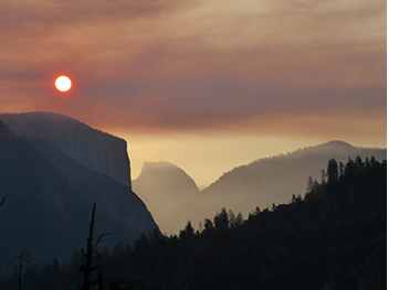 Smoky skies in Yosemite Valley on August 8