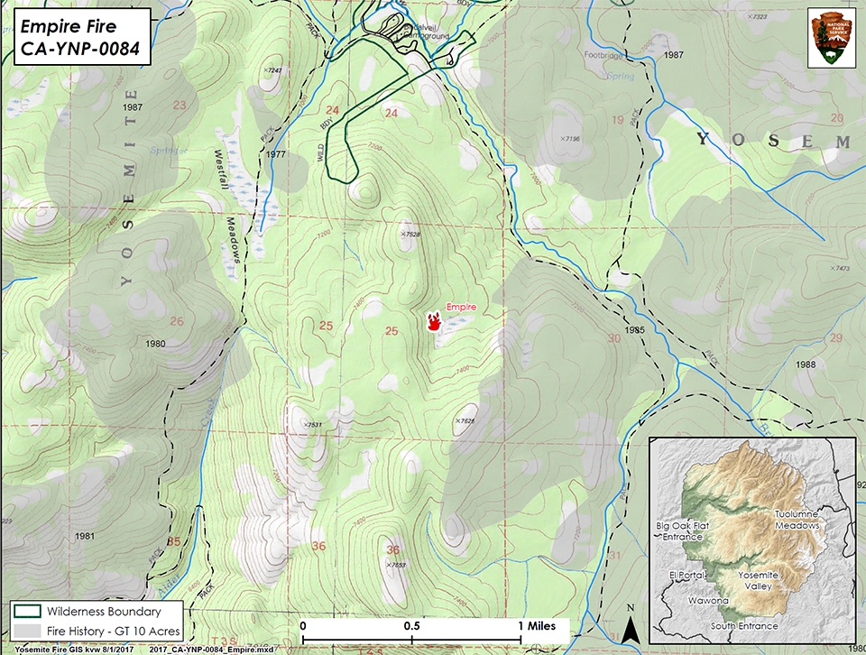 Map showing Empire location in Yosemite