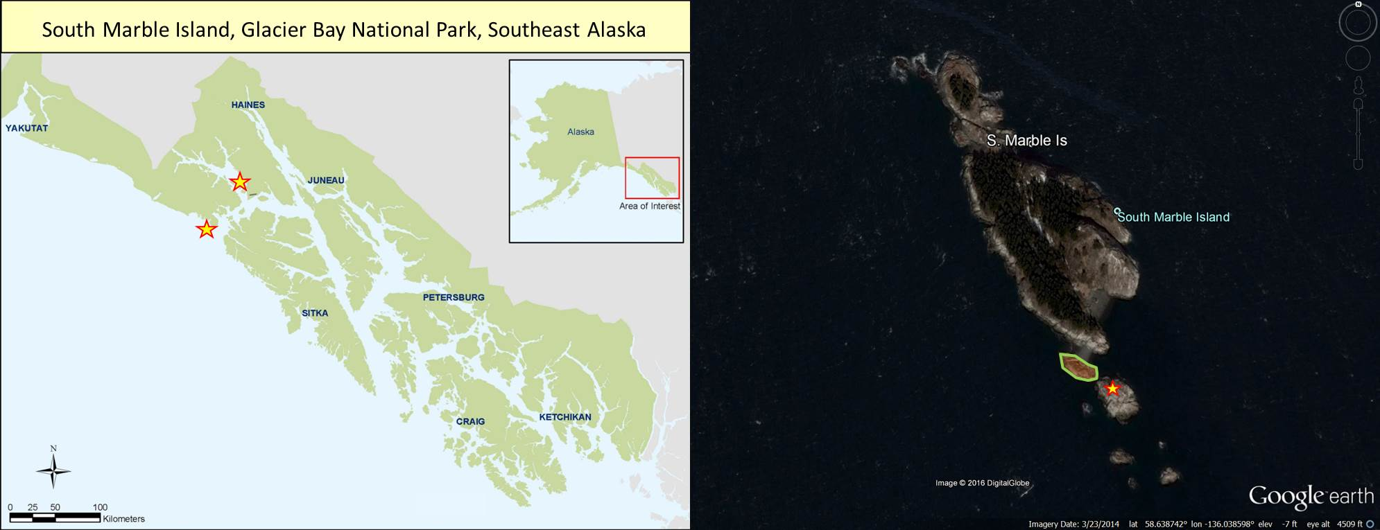 Map and image of sea lion haul outs in Glacier Bay