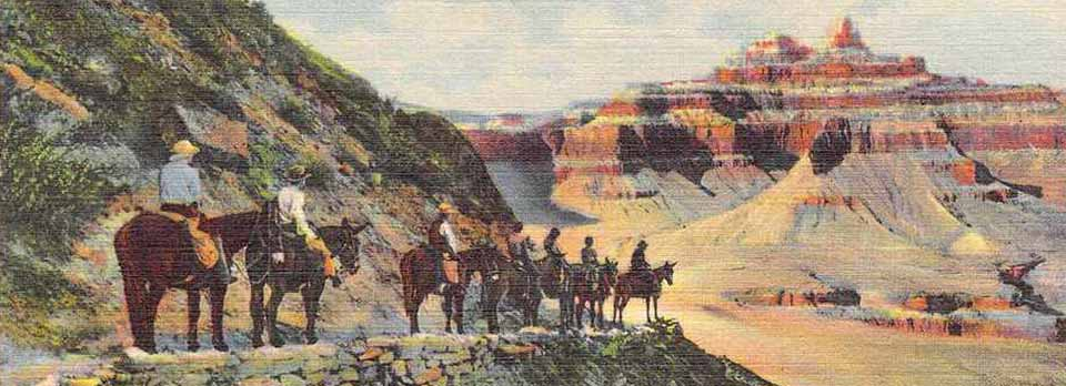 In the foreground on a ledge is a string of 8 mules with riders taking a break and looking out at a red-banded peak on the right and in the distance