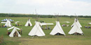 Modern image of tipis at Knife River Indian Villages NHS