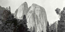 Black and white Carleton Watkins photograph, showing Yosemite's massive granite Cathedral Rock. Billings Family Archives.