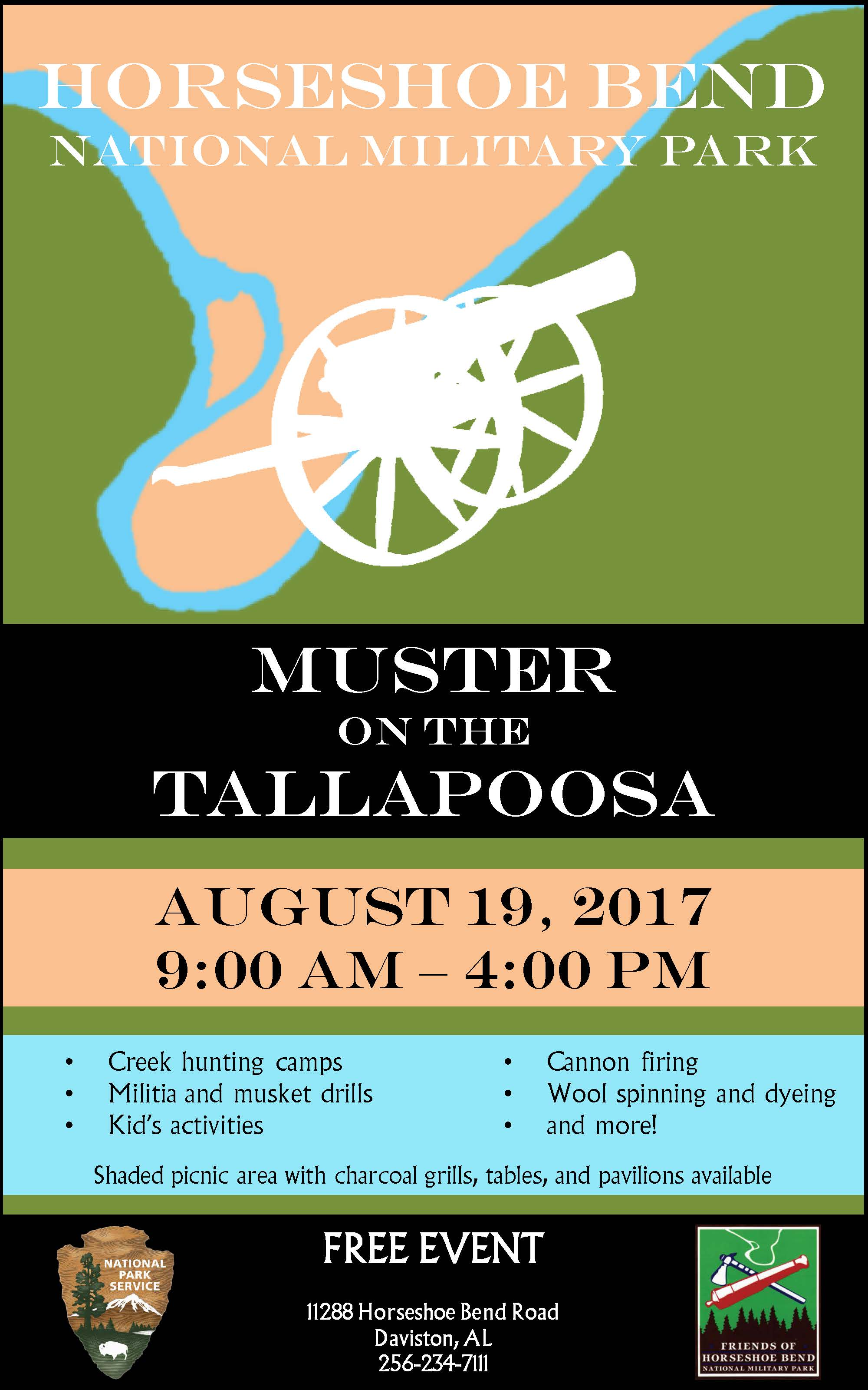 flyer for event background is river silhouette foreground is white cannon - Flyer Muster