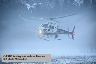 Helicopter at Ahwahnee Meadow at dusk