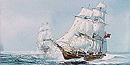 An artist's depiction of an American privateer pursuing a British merchant ship.  Painting by Thomas Freeman.