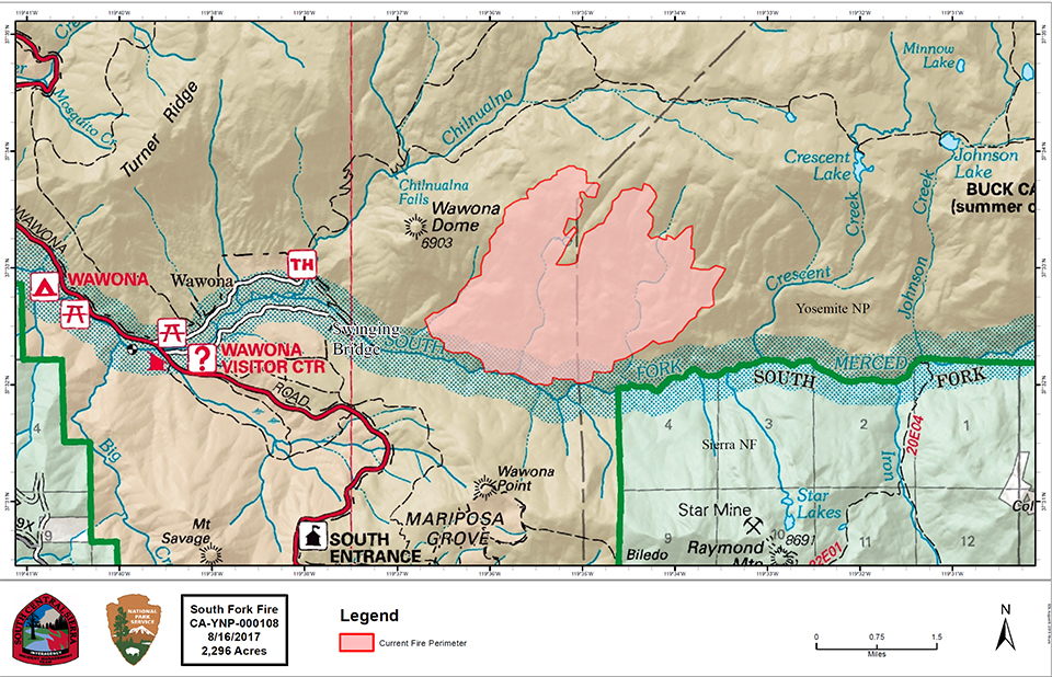 Map showing the South Fork Fire perimeter as of 8.16.17