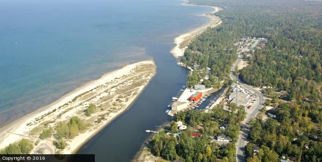 An Aerial View of the Nottawasaga River's Inlet where the USS Tigress and USS Scorpion Were Captured (Nottawasage).