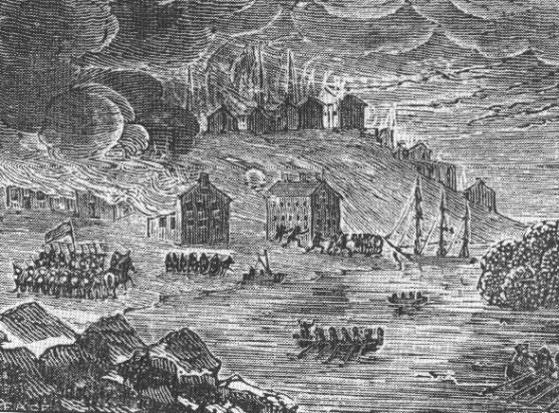 The City of Buffalo, New York, Under Attack by the British in 1813 (The Burning).