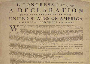 Top section of the Dunlap broadside of the Declaration of Independence.
