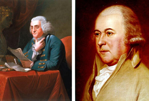 Two color images - one shows Benjamin Franklin seated at a desk, holding papers in one hand with his chin resting on his thumb, and the other shows John Adams' face and part of his torso.