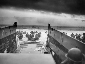 Soldiers landing on the beaches of Normandy, France on D-Day, June 6, 1944.
