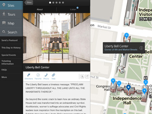 Color image of a screen shot from the Liberty Bell page on the NPS Independence mobile app with an image of the bell, a map showing the Liberty Bell Center's location and written text about the bell.