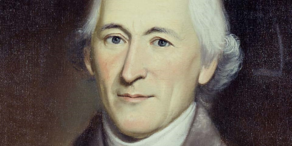 Color image of a detail of a painting of Charles Thomson, shown from forehead to chin.  He has white hair, blue eyes, and a long, thin nose.