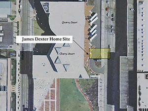 The image is an aerial map indicating where James Dexter's home was located in context to the National Constitution Center's present day location.