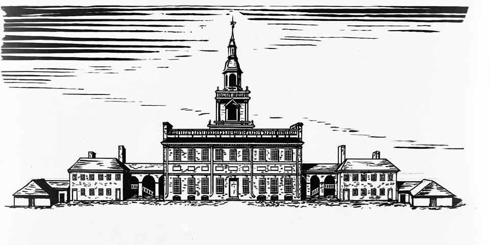 Black and white drawing showing the State House (Independence Hall) with wing buildings and adjoining wooden sheds about 1776.