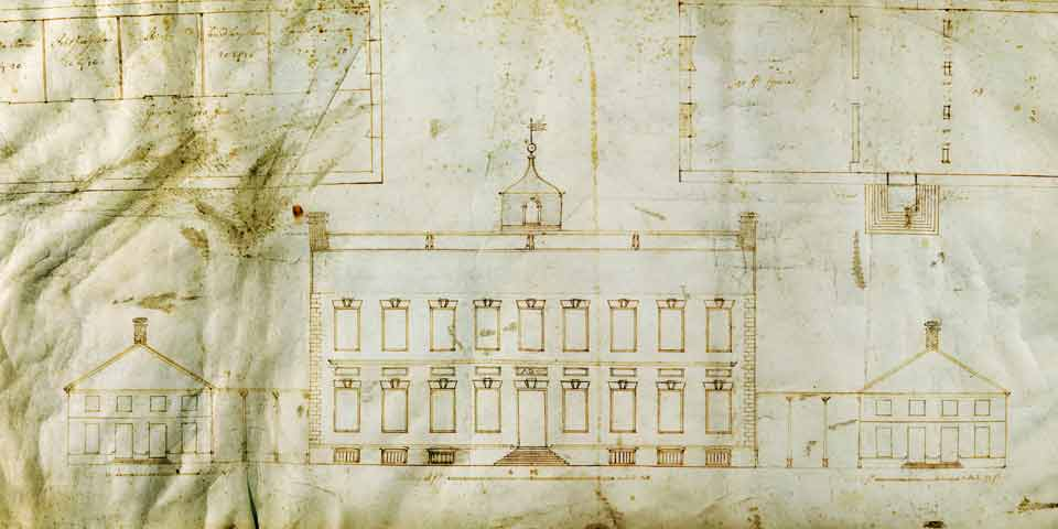 Drawing from 1732 showing a two story building with a smaller building on each side.