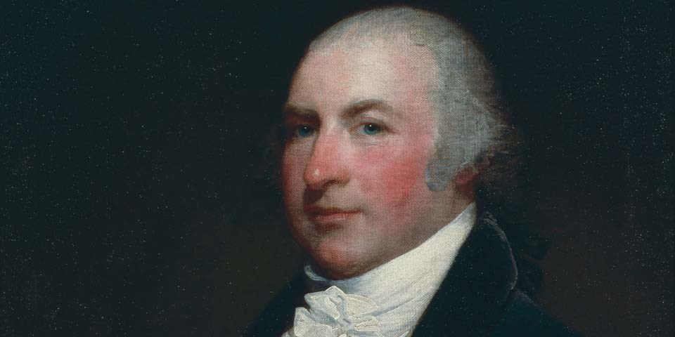 Color image of a detail of a painting of Isaac Franks, a man with white hair and blue eyes.  He wears a black coat and white stock.