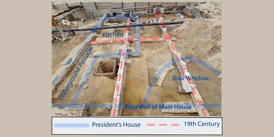 Color photo of the dig site at the President's House location with red and blue lines indicating the later 19th century walls, and the earlier 18th century construction.