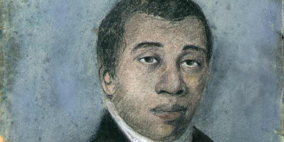 Color image of a detail of a painting of Richard Allen, a black man with close cropped hair.