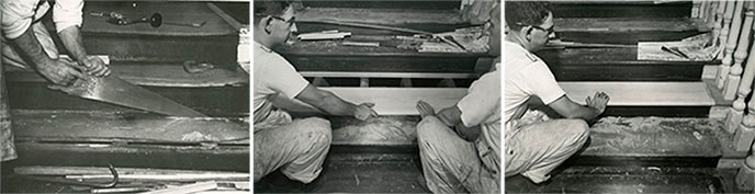 A sequence of three photographs showing the process of stair tread repair.