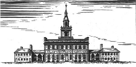 Drawing of the State House in 1753, showing the original steeple.