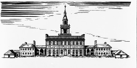 Drawing showing the State House in 1776, with wing buildings and wooden sheds.
