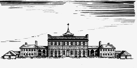 Drawing of the State House as it appeared in 1781, without the steeple.