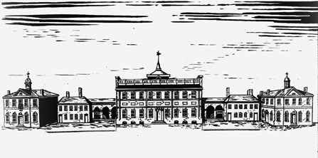 Drawing showing the State House complex as it appeared in 1791, with the removal of the sheds and the addition of City Hall and County Courthouse.