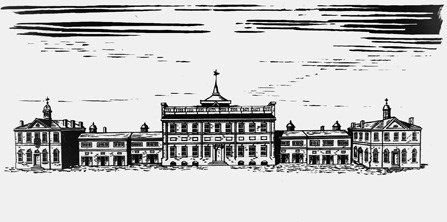 Drawing of the State House in 1812 showing the office buildings that replaced the original wings.