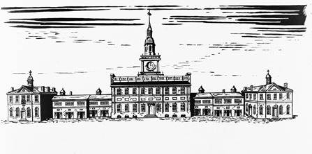 Drawing showing the State House as it appeared in 1828 with the addition of the tower by William Strickland.