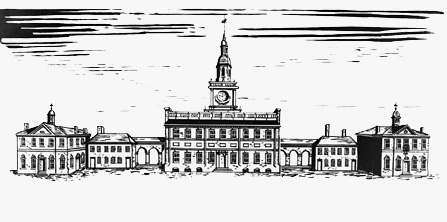 Drawing of the State House as it appeared in 1898 with wings and arcades resembling those of the 18th century.