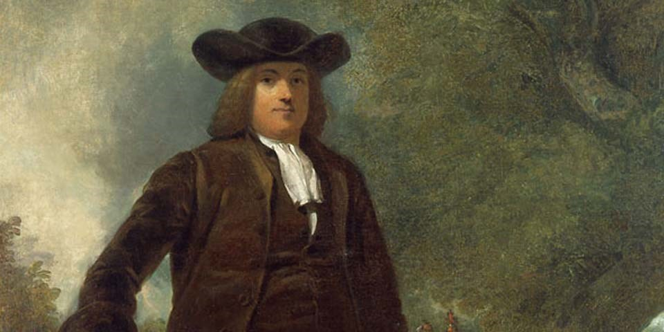 Color image of a detail of a painting of William Penn, shown in brown coat and waistcoat, with black hat and brown hair.