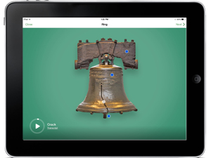 Screen of NPS Independence app showing the Liberty Bell against a green background.