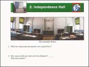 View of activity questions about Independence Hall from the Junior Ranger booklet.