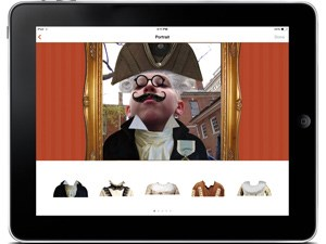 Screen shot of NPS Independence mobile app portrait activity showing a boy wearing 18th century clothing.