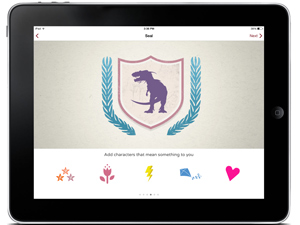 Screen shot of NPS Independence mobile app kid's activity showing a purple dinosaur inside a shield.