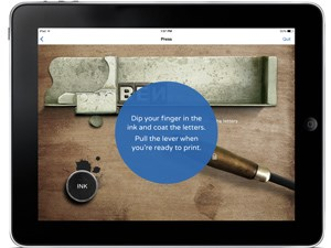 Screen shot of NPS Independence mobile app printing activity for kids with view of composing stick.