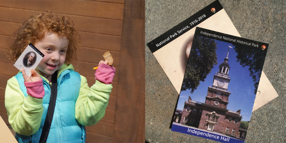 Color photos - one of little girl holding up trading card on left; picture of Independence Hall trading card on right.