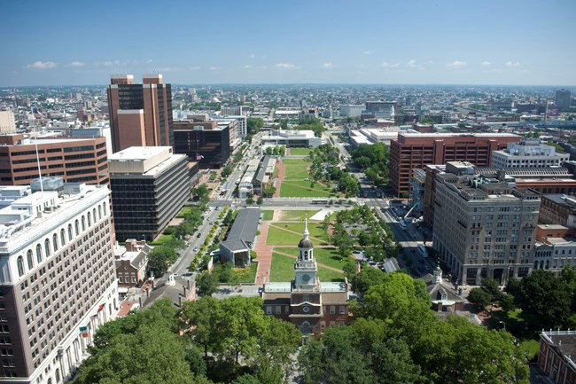 Arial view of Independence Mall. Includes Independence Hall, the Liberty Bell Center, the Independence Visitor Center and the National Constitution Center.